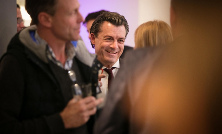 Nick Daffy chatting to clients at one of our pop up Property Trends events in the Manchester showroom
